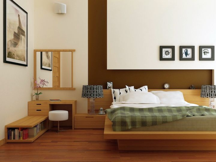 zen bedroom ideas with wooden floor and low shelf