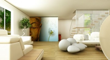 zen living room ideas with Buddha painting