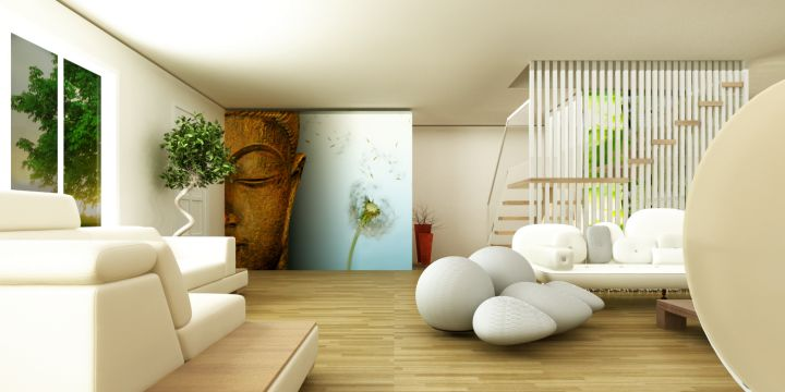 So What Do You Think About Zen Living Room Ideas With Buddha Painting Above It S Amazing Right Just Know That Photo Is Only One Of 19 Serene