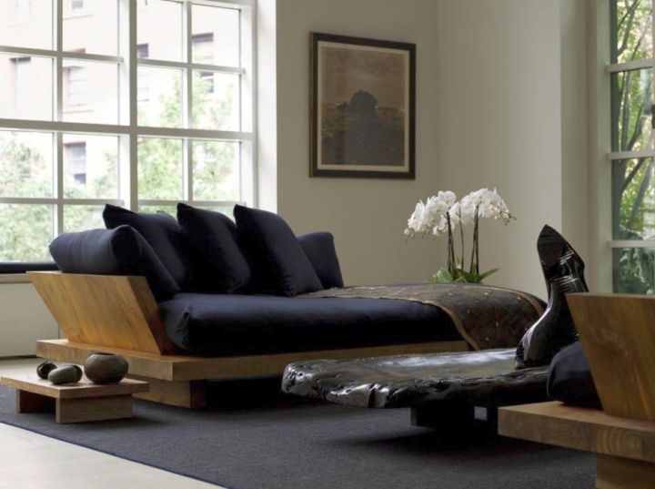 zen living room ideas with black sofa for small space