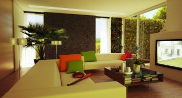 zen living room ideas with green sofa and colorful cushions