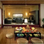 zen living room ideas with shared dining rooms