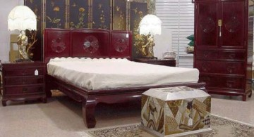 Asian bedroom idea using intricate separator as decorative wall panel