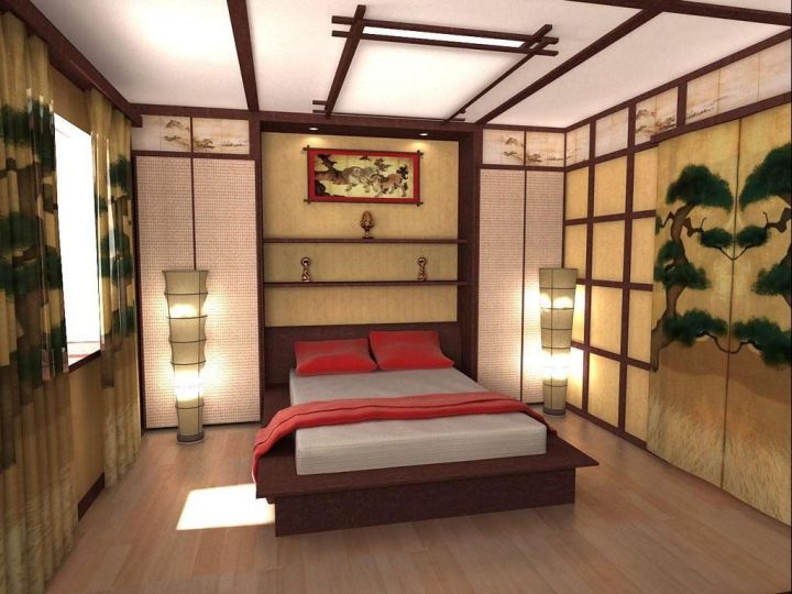 Asian bedroom with forest painting