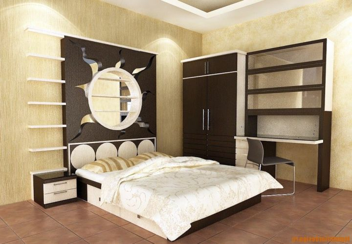 Asian bedroom with headboard panel