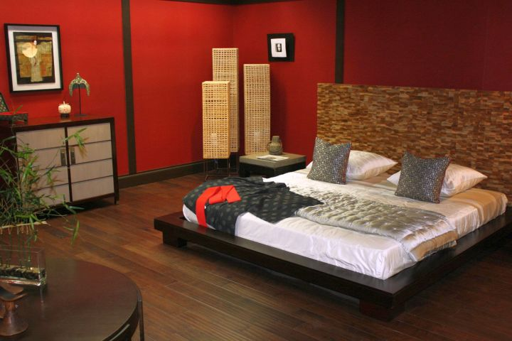 Asian bedroom with low modern bed