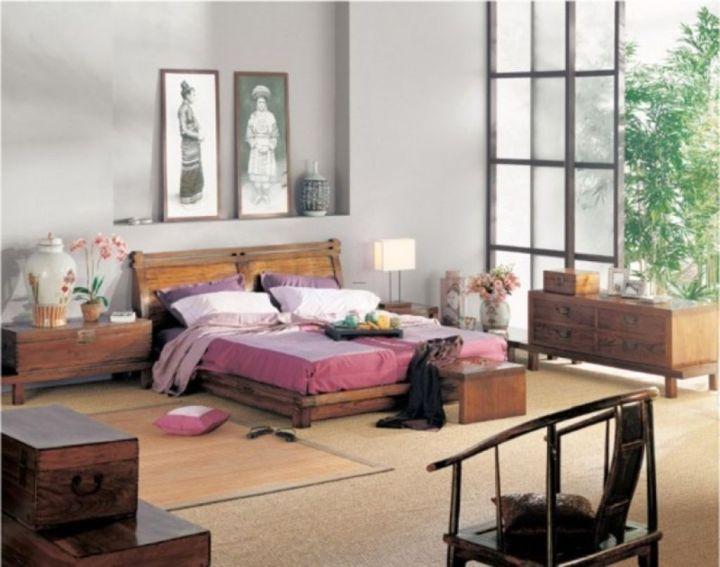 Asian bedroom with paper doors