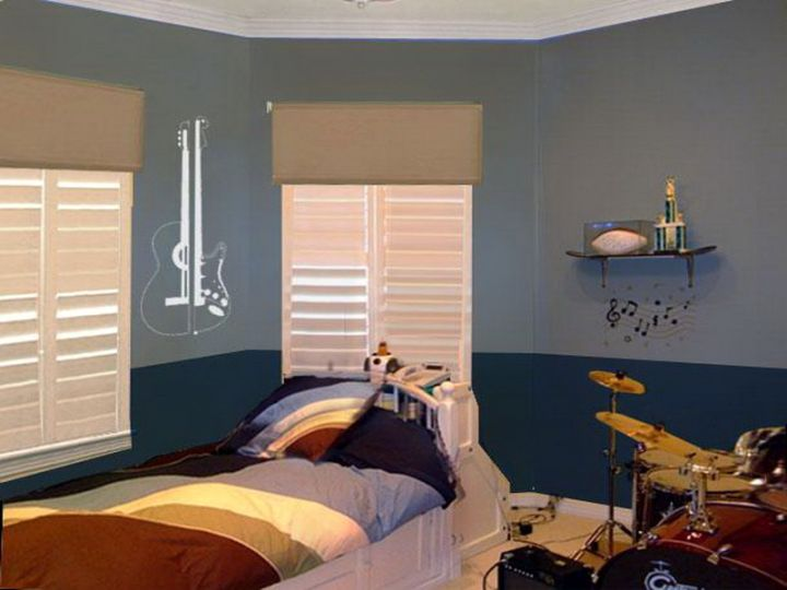 Boys room color in two toned blue