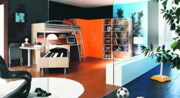 Boys room color with dark wall and wooden floor