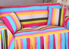 Chic and high end slipcover desigs featuring rainbow color scheme