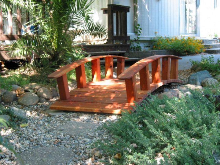 DIY garden bridge in red