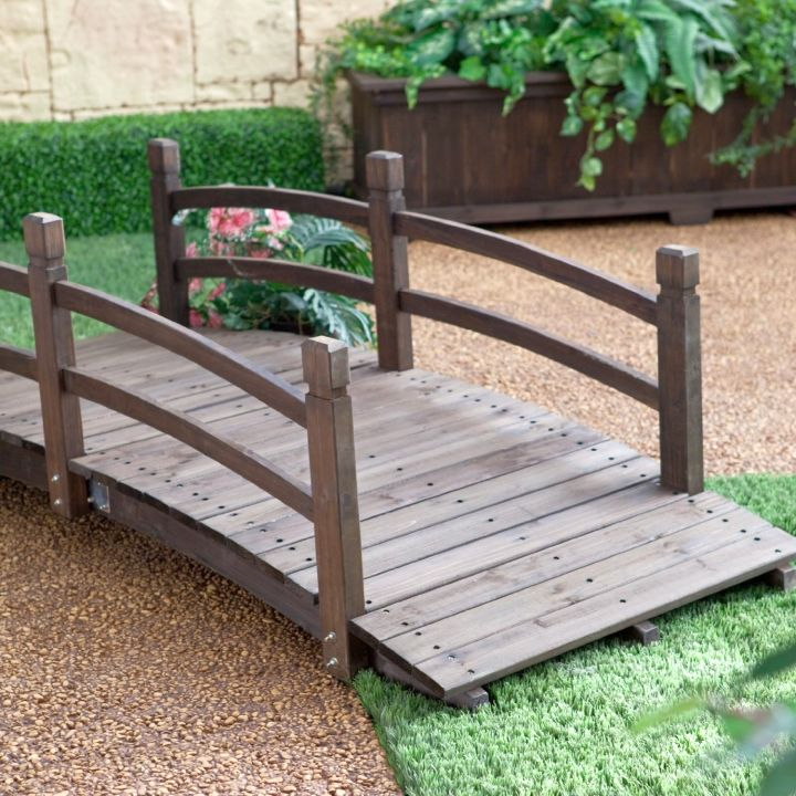 DIY garden bridge with low railing