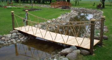 DIY garden bridge with rope railings