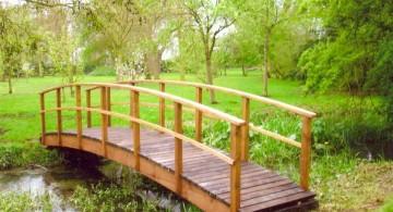 DIY garden bridge with simple railings