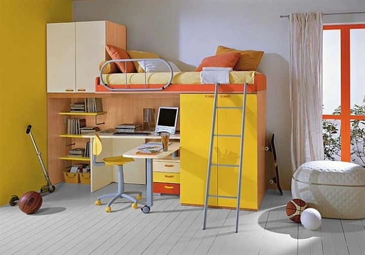Desk bed combo in yellow and orange