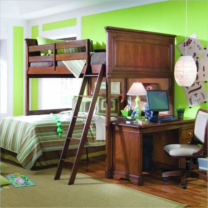 Desk bed combo with bunk beds