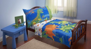 Dinosaur themed bedroom in blue tone