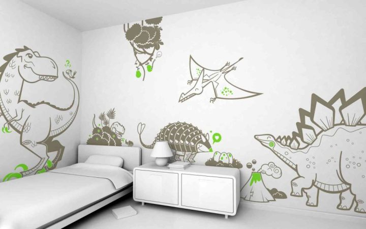 Dinosaur themed bedroom with sketches
