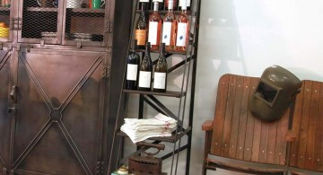 Display ladder as wine rack