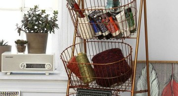 Display ladder with baskets attached