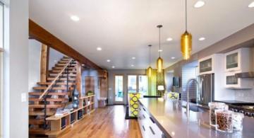 Entrancing bright golden hanging kitchen light idea
