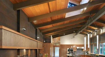 Exposed beam ceiling design in modern rustic kitchen with all brown furniture