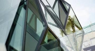 Flip House detail on glass