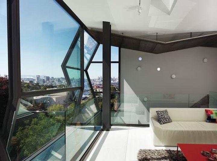 Flip House living room facing outside