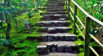 Garden stairs rustic stone with one handrails