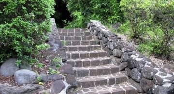 Garden stairs stone pathway