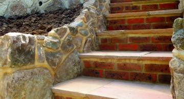 Garden stairs with tiles and bricks