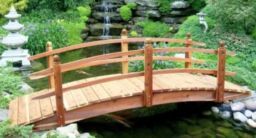 Gorgeous Japanese garden bridge construction plan with simple railing