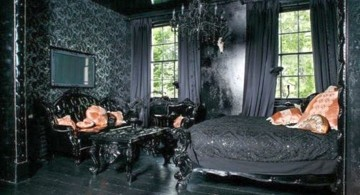Gothic bedrooms with chandelier