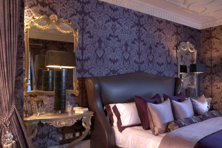 Gothic bedrooms with lovely wallpaper