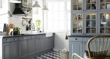 Grey Kitchen Ideas with glass cabinet