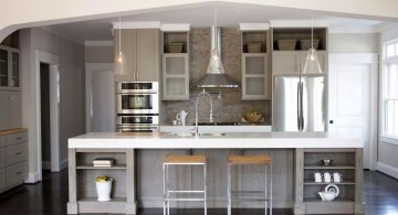 Grey Kitchen Ideas with marble topped kitchen island