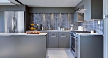 Grey Kitchen Ideas with modular cabinet and track lighting