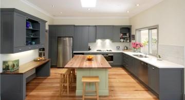 Grey Kitchen Ideas with wooden top kitchen island