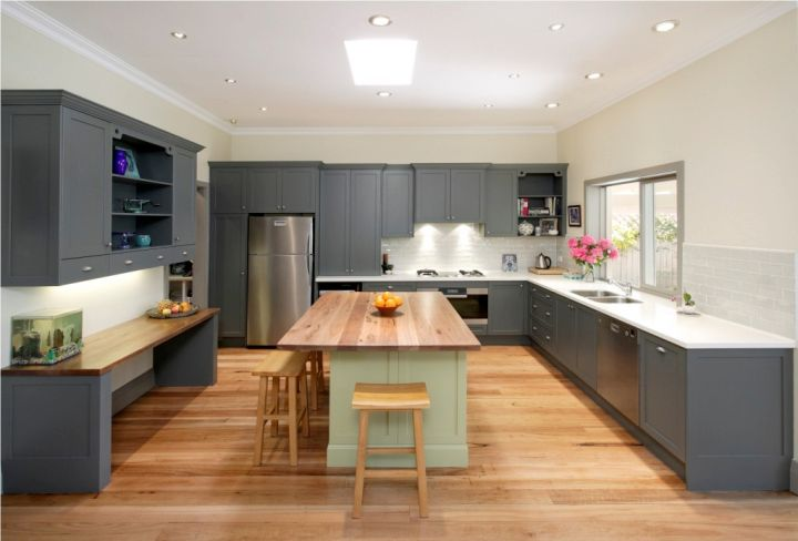 Grey Kitchen Ideas with wooden top kitchen island