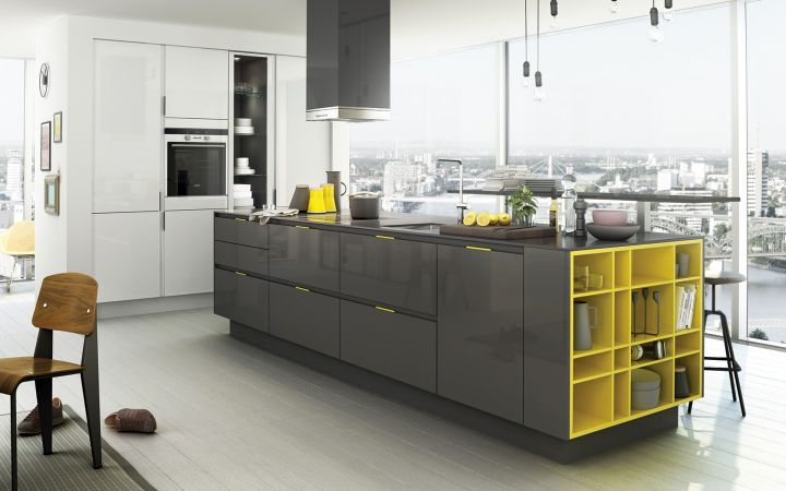 Grey Kitchen Ideas with yellow accent