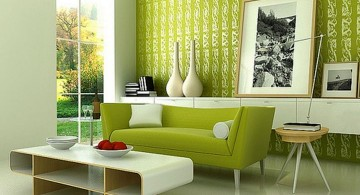 Grey and Green living room with retro furniture