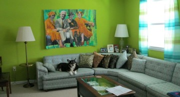 Grey and Green with L shaped sofa and green wall