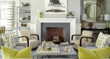 Grey and Green with fireplace