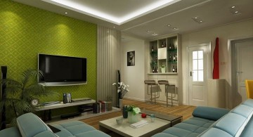 Grey and Green with low drop ceiling