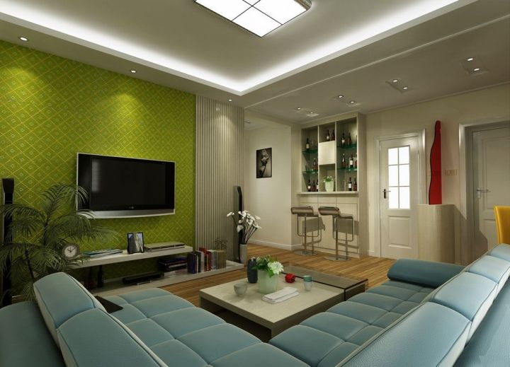 lovely dark green living room wall | 18 Lovely Grey and Green Living Room Ideas