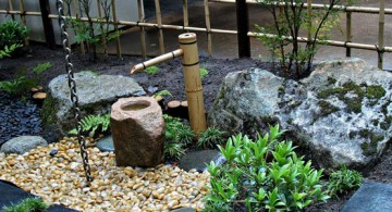 Japanese Garden Design Idea Featuring Tiny Bamboo Fountain