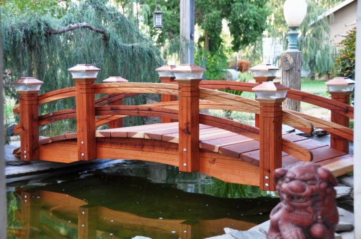 Japanese garden bridge plans in red