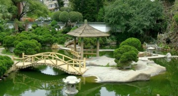 Japanese garden bridge plans with logs