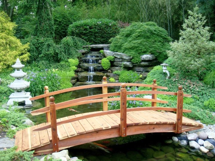 Japanese garden bridge plans with simple railing