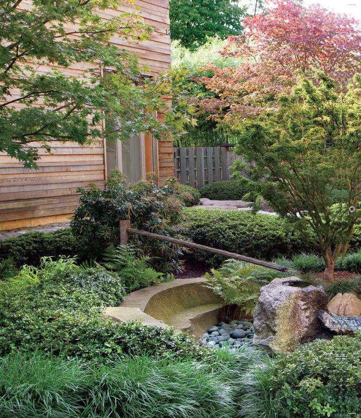 Japanese landscape design with bamboo fountain for 70 bamboo garden design ideas
